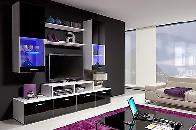 Living Room Wall unit Cabinet Stand TV Unit / High Gloss + LED LIGHTS