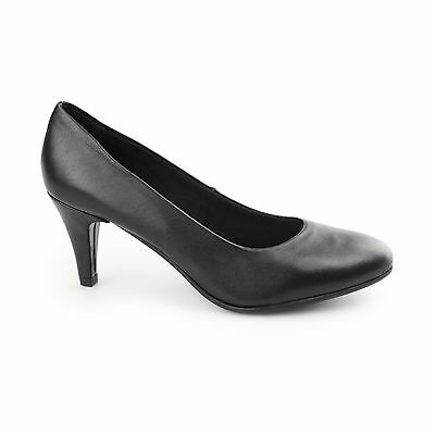 083f4ee658 Comfort Plus SAFFRON Ladies Leather Wide Fit Comfort Cushioned Court Heels  Black