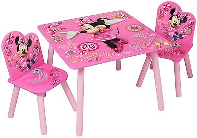 Disney Minnie Mouse Kids Table And Chairs Children Playroom Bedroom Furniture