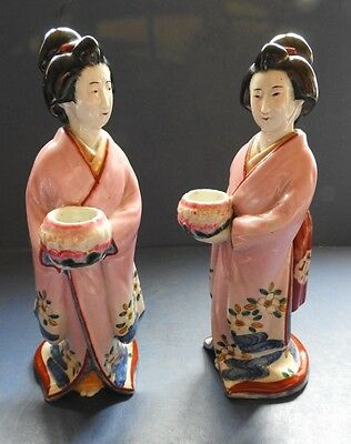 Pair Of Superb Japanese Porcelain Figures Of Women With Bowl - Late 19Th Century