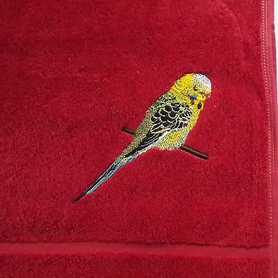 Budgie Embroidered Bath Towel, Bird Gift, Embroidery