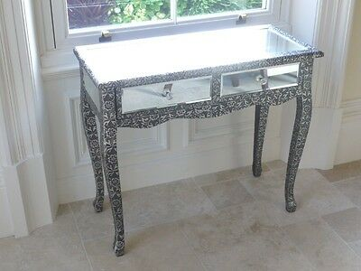 Black Silver Embossed Metal & Mirror Dressing/Console Table