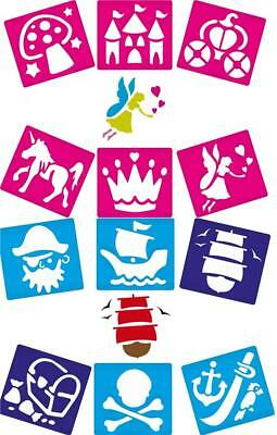 12 Washable Stencils Fantasy FAIRIES & PIRATES Party Themed Crafts & Cardmaking