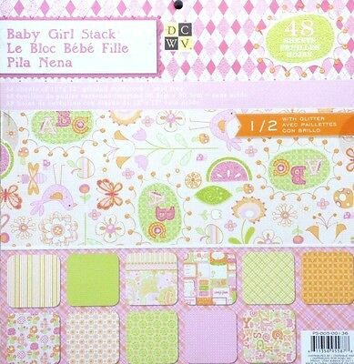 Die Cuts With View 12x12 BABY GIRL Paper Stack 48 Sheets PS-005-00136 R