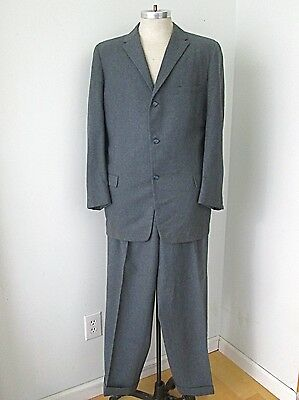Vtg 40s WWII Gray Wool Flannel 2-Pc Zoot Suit Baggy Pleated Cuffed Pants 44