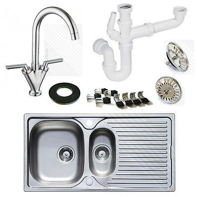 Astracast Stainless Steel Kitchen Sink & Tap Pack | Reversible 1.5 Bowl Drainer