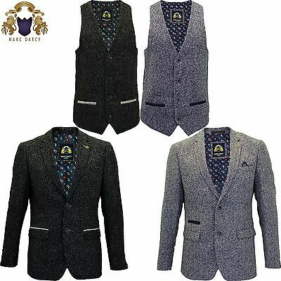 Mens Marc Darcy Tweed Blazer Waistcoat Formal Casual Dinner Jacket Tailored Fit