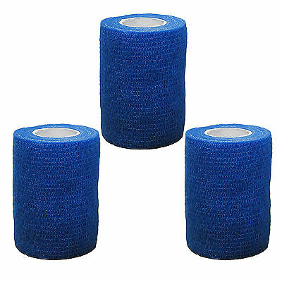 3x CMS Medical Self Adhesive Cohesive Bandage Blue 7.5cm Sport Support Wrap Roll