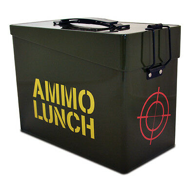 Novelty Army Ammo Tin lunchbox lunch box bag by Fizz