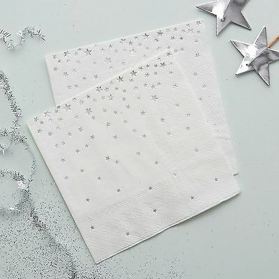 Silver Star Christmas Canape Napkins x 20 - Christmas Table / Silver Wedding