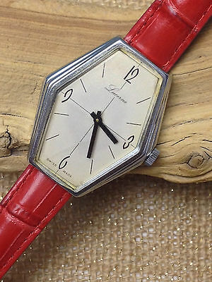 Vintage Lucerne Swiss Big Dial Manual Wind Silver Ss Watch  Red Strap  Old Stock