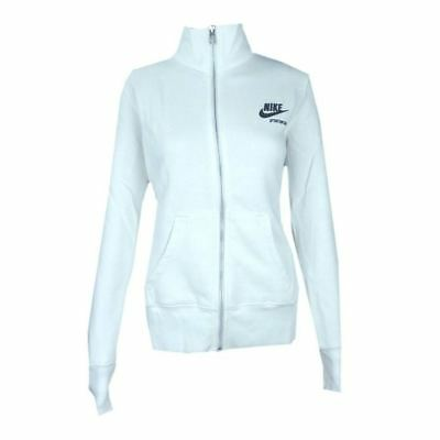 Womens Nike Sportswear Fleece Track Top White Full Zip Sport Fitness Size M L