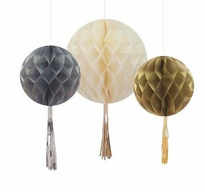 Gold and Silver Christmas Honeycombs x 3 - Christmas Hanging Decorations