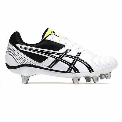 Asics Lethal Tackle SG Soft Ground Mens Rugby Boot White/ Black - UK 8.5