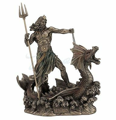 Poseidon With Trident Standing on Hippocampus Statue Sculpture Figure