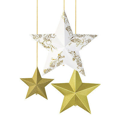 Gold Hanging Stars x 3 - Christmas / Wedding Decoration