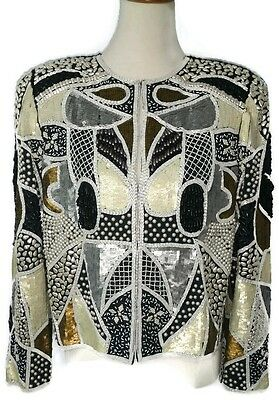 Vintage Ladies Beaded Sequin Jacket Size Small Long Sleeve Black Silver White Br