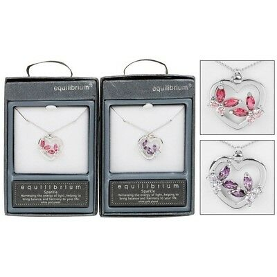 Equilibrium Crystal Platinum Plated Necklace Heart Butterfly Gift Present 49422