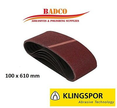 "100 x 610mm / 4"" Sanding Belts / Sandpaper KLINGSPOR - WOOD METAL PAINT FILLER"