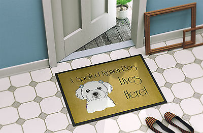 Maltese Spoiled Dog Lives Here Indoor or Outdoor Mat 24x36