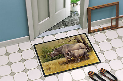 Rhinoceros by Daphne Baxter Indoor or Outdoor Mat 24x36