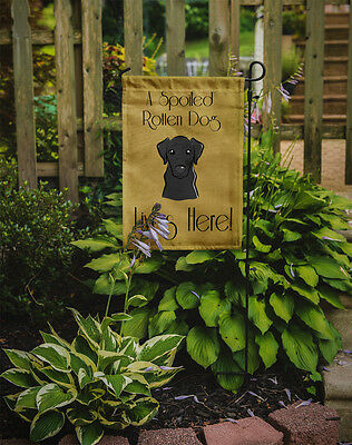 Black Labrador Spoiled Dog Lives Here Flag Garden Size