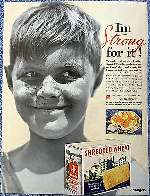 1934 Uneeda Shredded Wheat Biscuits Smiling Freckled Boy I'm Strong For It ad