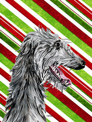 Scottish Deerhound Candy Cane Christmas Flag Garden Size
