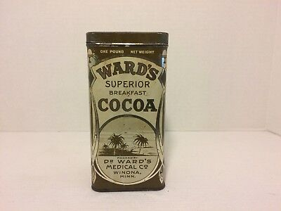 Dr Ward's Medical Co Ward's Superior Breakfast Cocoa Tin 1lb Litho Advertising