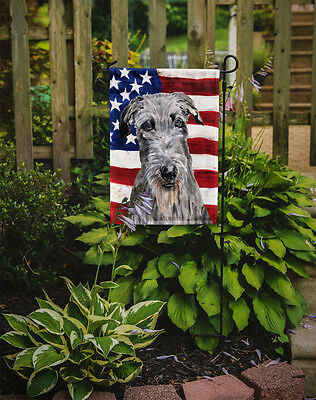 Scottish Deerhound with American Flag USA Flag Garden Size
