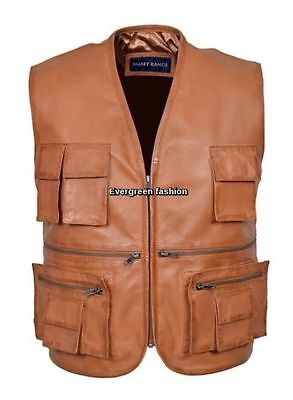 Men's Tan Fishing Waistcoat Real Lambskin soft Leather CLASSIC Deluxe Fisherman