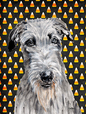 Scottish Deerhound Candy Corn Halloween Flag Garden Size
