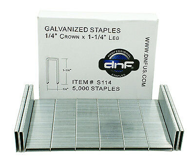 "DNF Galvanized Staples 1/4"" Crown 1-1/4"" Leg (5,000/ Box) - SHIPS FREE TODAY!"