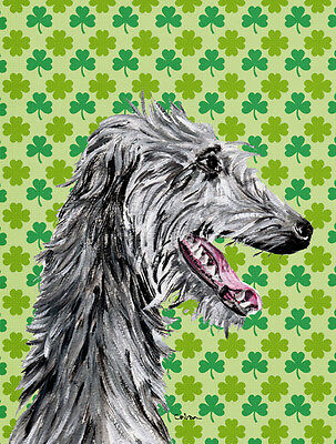 Scottish Deerhound Lucky Shamrock St. Patrick's Day Flag Garden Size