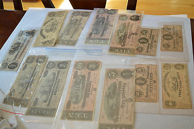 Lot of 13 Confederate States of America Obsolete Civil War Currency Notes