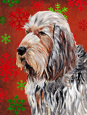 Carolines Treasures  SC9756GF Otterhound Red Snowflakes Holiday Flag Garden Size