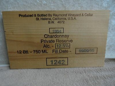 1994  Raymond Private Reserve NAPA VALLEY CHARDONNAY WOOD WINE PANEL END
