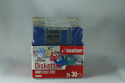 imation 30 Rainbow Diskettes IBM Formatted 2HD 1.44MB Sealed New