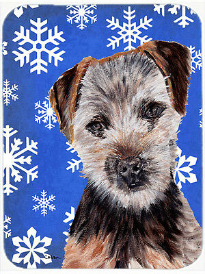 Norfolk Terrier Puppy Winter Snowflakes Mouse Pad, Hot Pad or Trivet