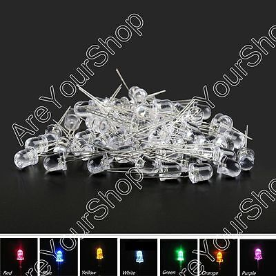8mm/10mm LED Multi Color Waterclear Ultrabright Light Emitting Diode Lamp Round.