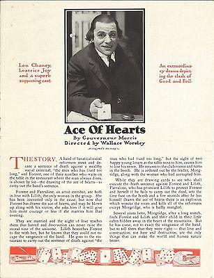 * THE ACE OF HEARTS (1921) Lon Chaney Silent Film Partial Pressbook Great Images