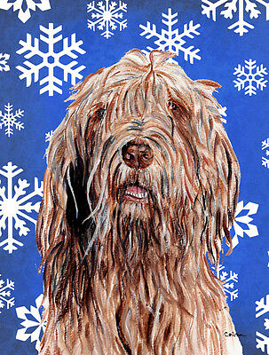 Otterhound Winter Snowflakes Flag Canvas House Size