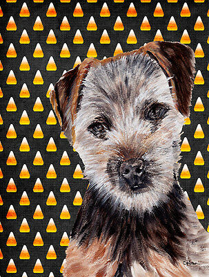 Norfolk Terrier Puppy Candy Corn Halloween Flag Canvas House Size