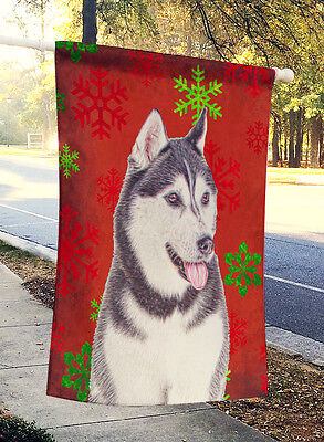 Red Snowflakes Holiday Christmas  Alaskan Malamute Flag Canvas House Size