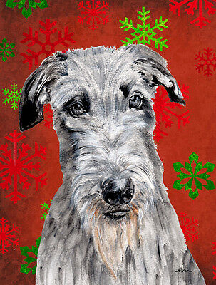 Scottish Deerhound Red Snowflakes Holiday Flag Canvas House Size