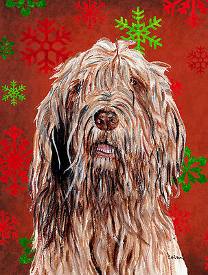 Otterhound Red Snowflakes Holiday Flag Canvas House Size