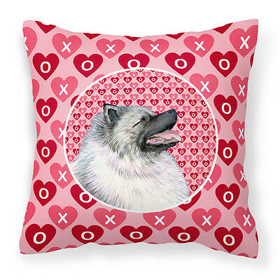 Keeshond Hearts Love and Valentine's Day Portrait Fabric Decorative Pillow