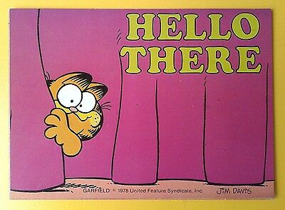 """i Will Write To You""vtg '70 Humor Postcard Garfield Jim Davis ""hello There """