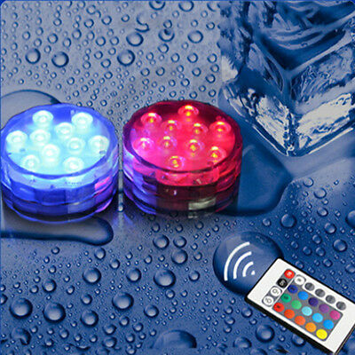 10 Leds Show Battery Waterproof Underwater Pool Spa Bath Light Remote + FREE LED