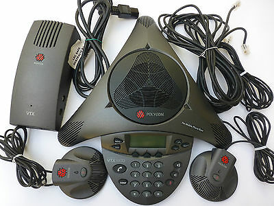 POLYCOM VTX1000 CONFERENCE PHONE w/ microphones, 12 months wty, tax inv GST inc